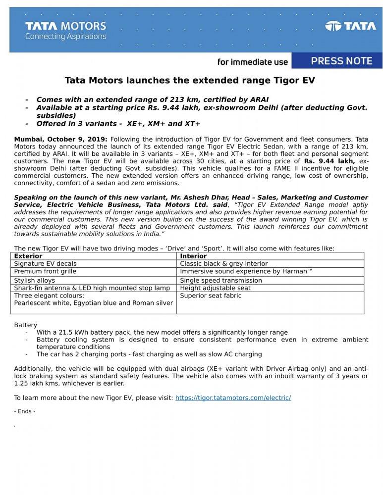 October 9 2019- Press Release - Tata Motors launches the extended range Tigor EV-1.jpg