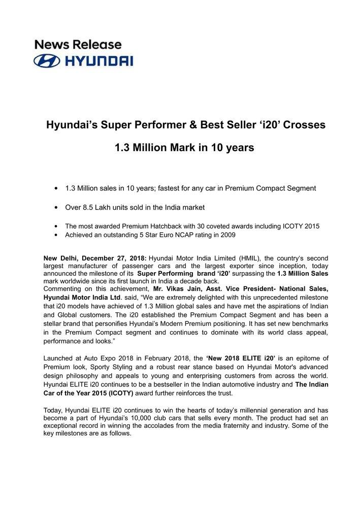 Press Release- Hyundai i20 Crosses 1.3 Million Mark in 10 years-1.jpg