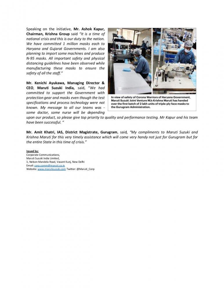 Press Release - Maruti Suzuki car seat manufacturing JV Krishna Maruti starts donation of 1 mi...jpg