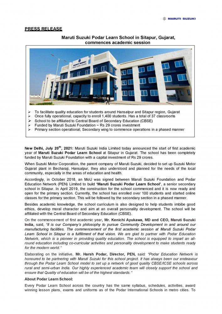Press Release_ Maruti Suzuki Podar Learn School in Sitapur, Gujarat, commences academic sessio...jpg