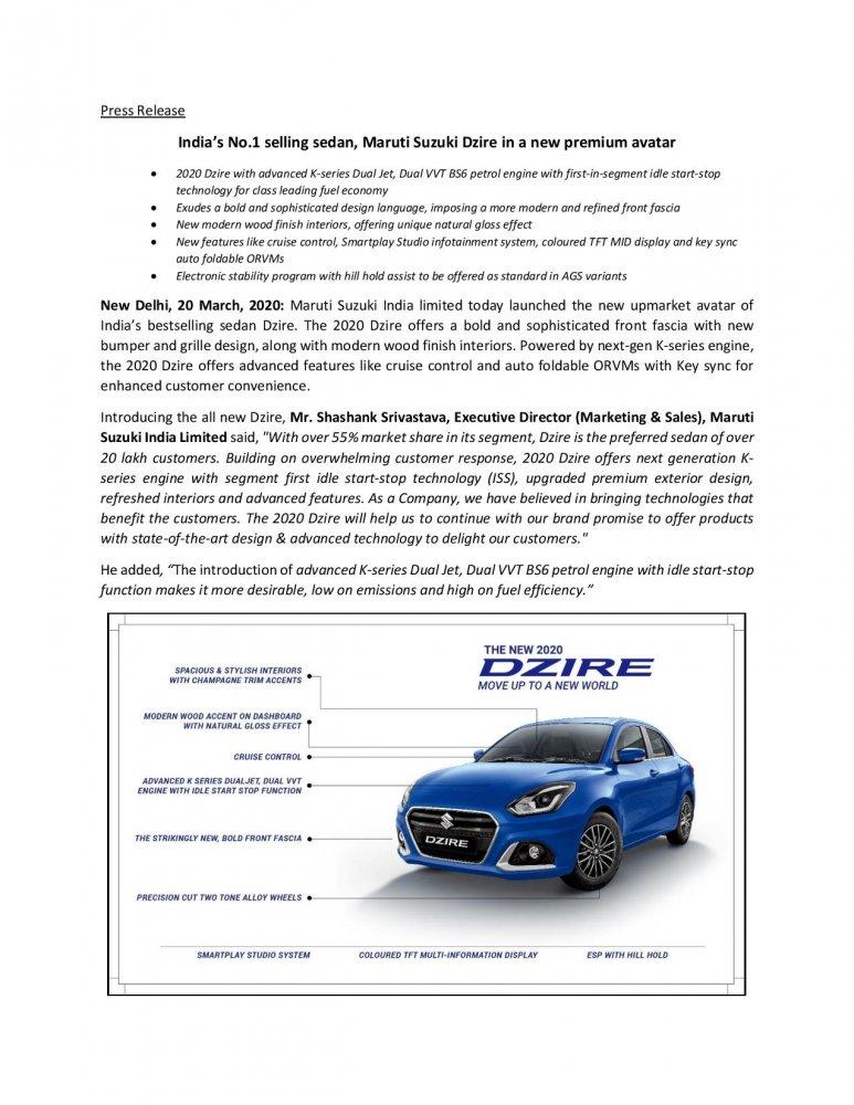 Press Release_Indias No.1 selling sedan Maruti Suzuki Dzire in a new premium avatar-page-001.jpg